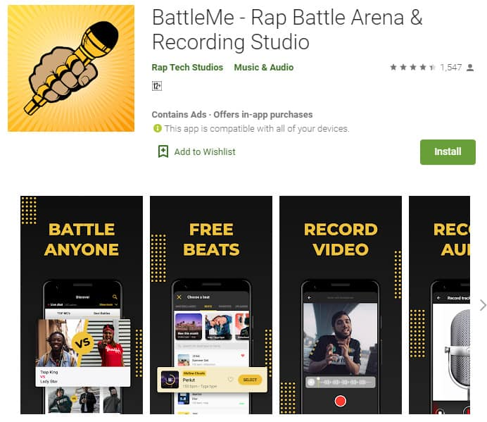 BattleMe is a great app that rappers can  use to practise rap battles.